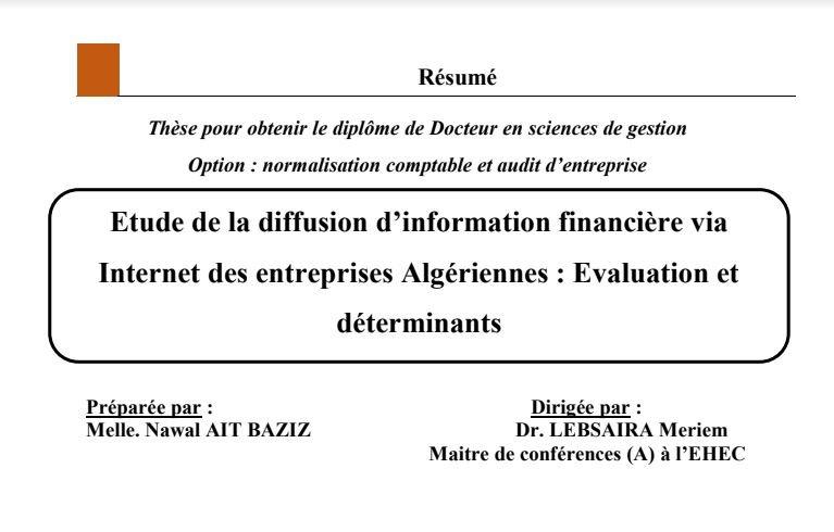 Summary of AITBAZIZ Nawel doctoral thesis