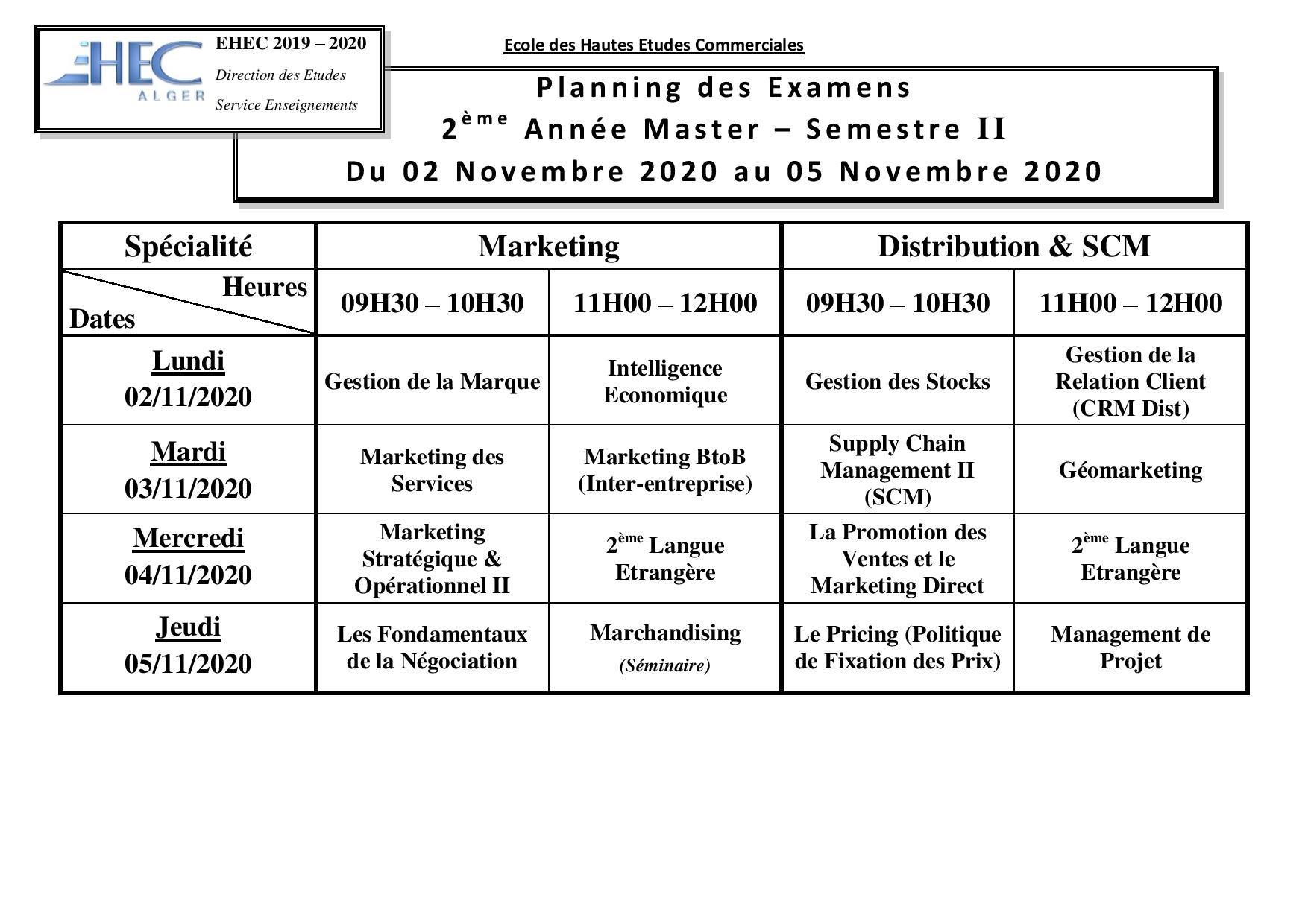 Exam schedule Marketing Department 2nd year Master semester 2