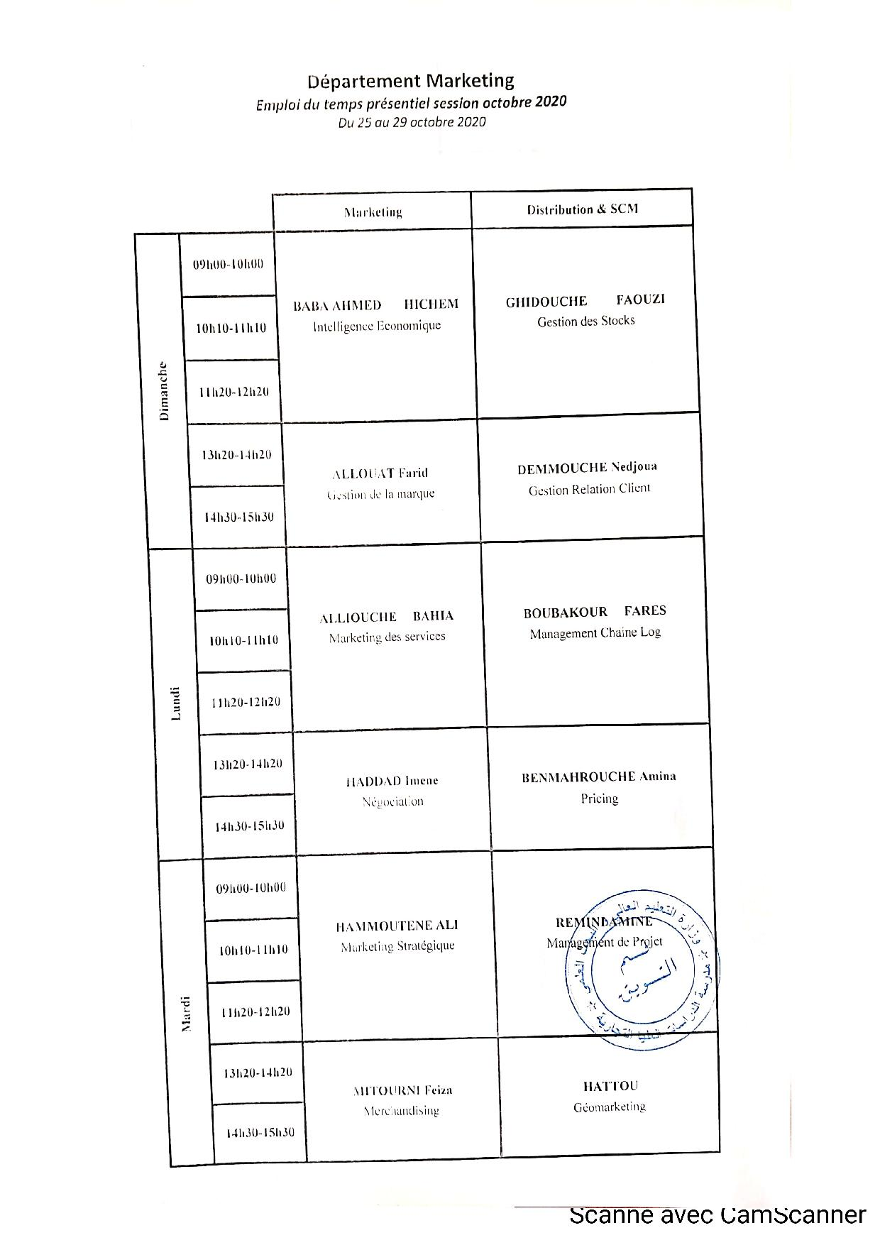 Timetable of Marketing Department