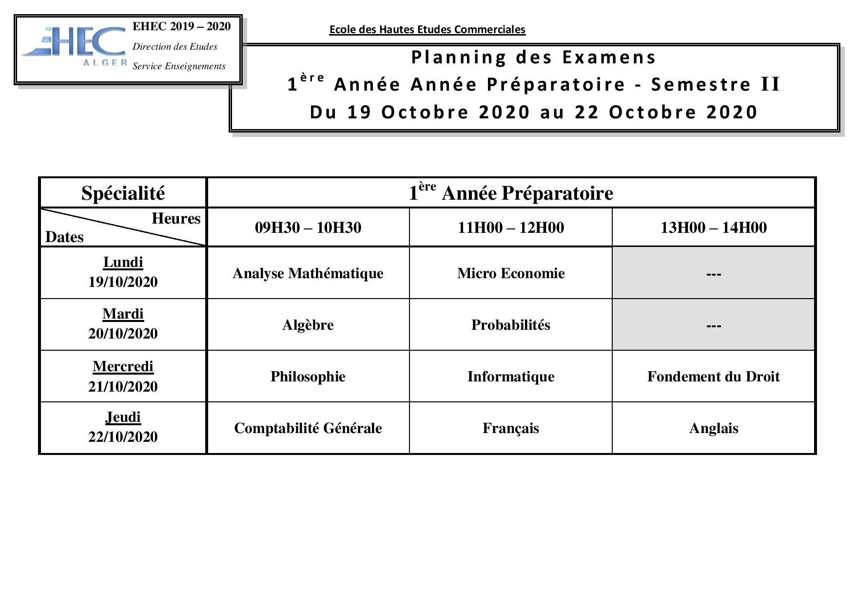 Examens 1CP S2