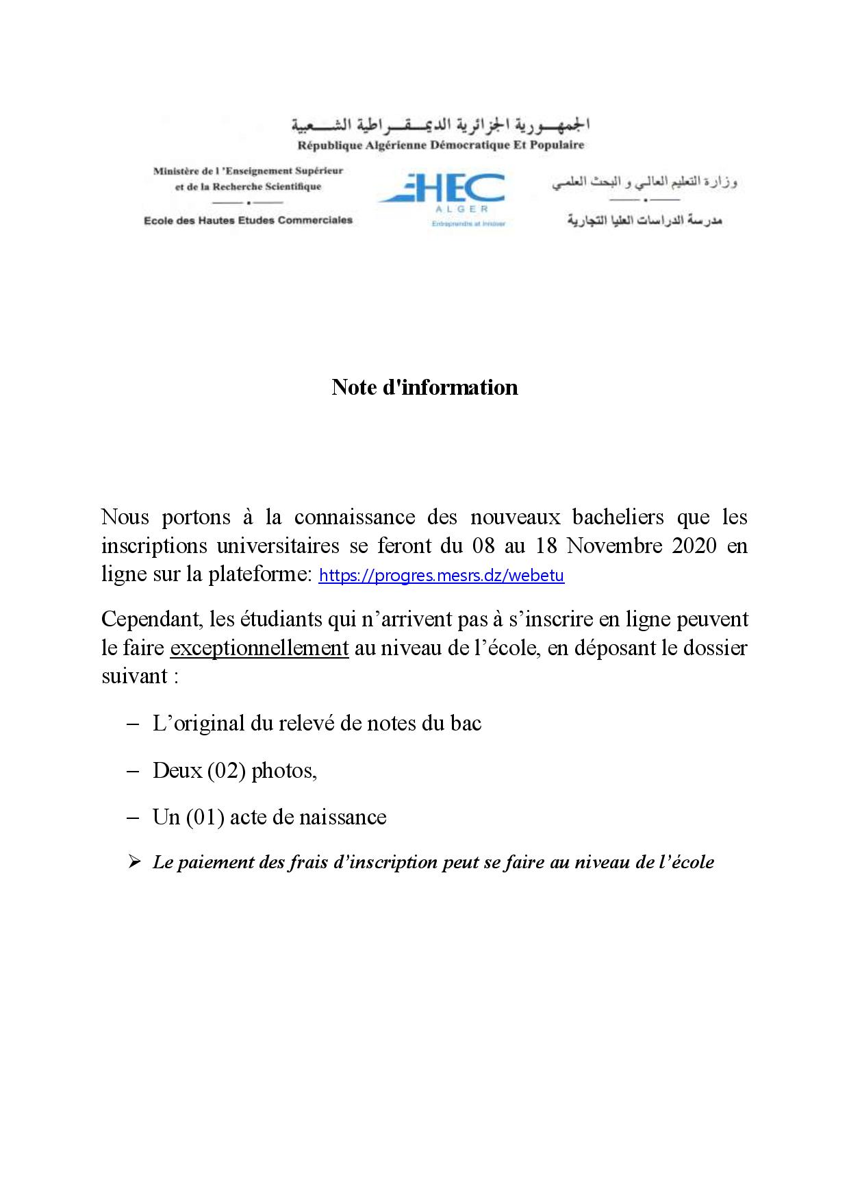 Note concerning the registrations of new baccalauréat holders