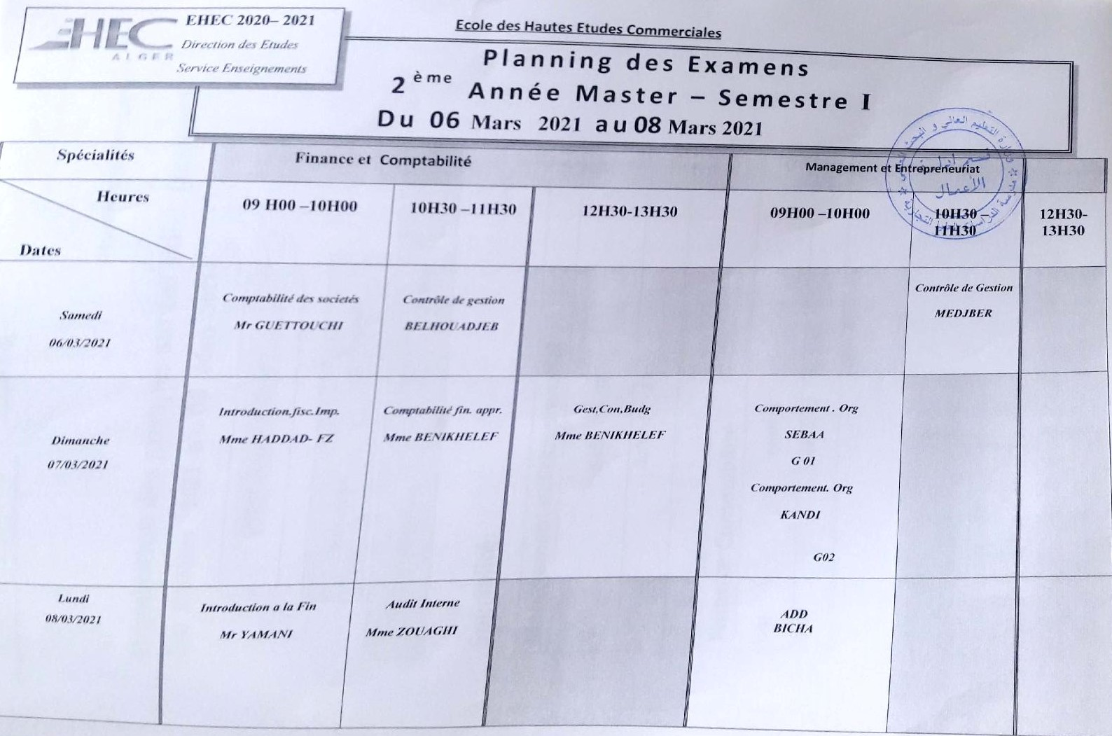 Exam timetable for the 2nd year master cycle students of The department of Management S1