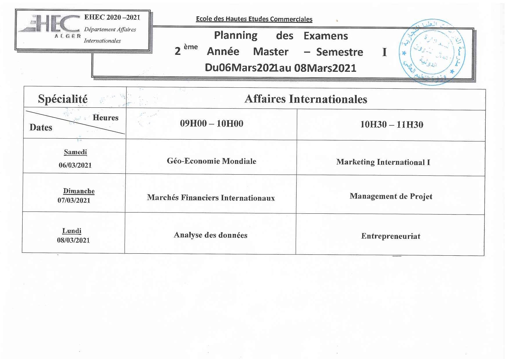 Planning des examens du premier semestre pour les étudiants en 2eme année Master affaires internationales