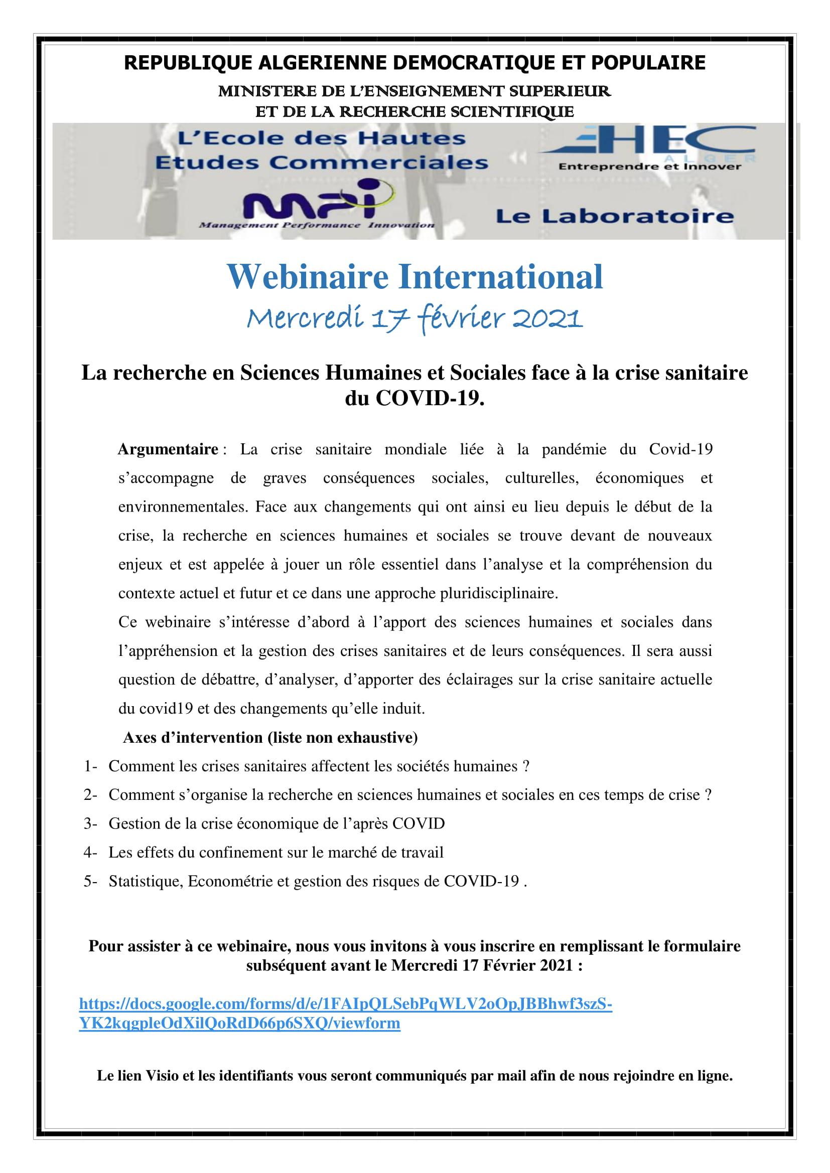 WEBINAIRE INTERNATIONAL La recherche en Sciences Humaines et Sociales face à la crise sanitaire du COVID-19.