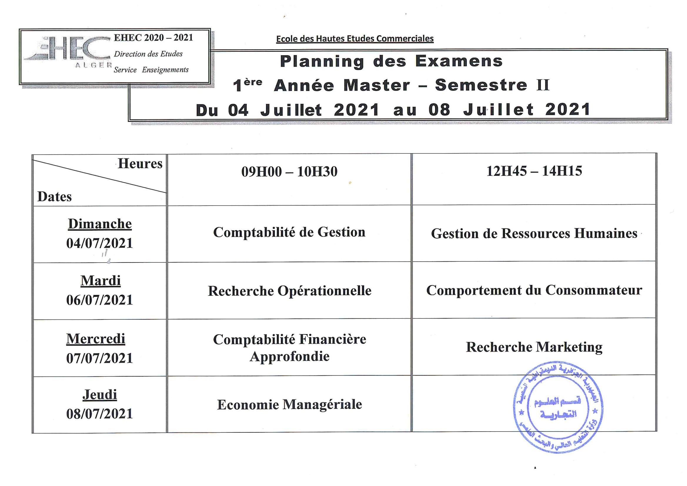 Planning des examens du cycle Master S2.