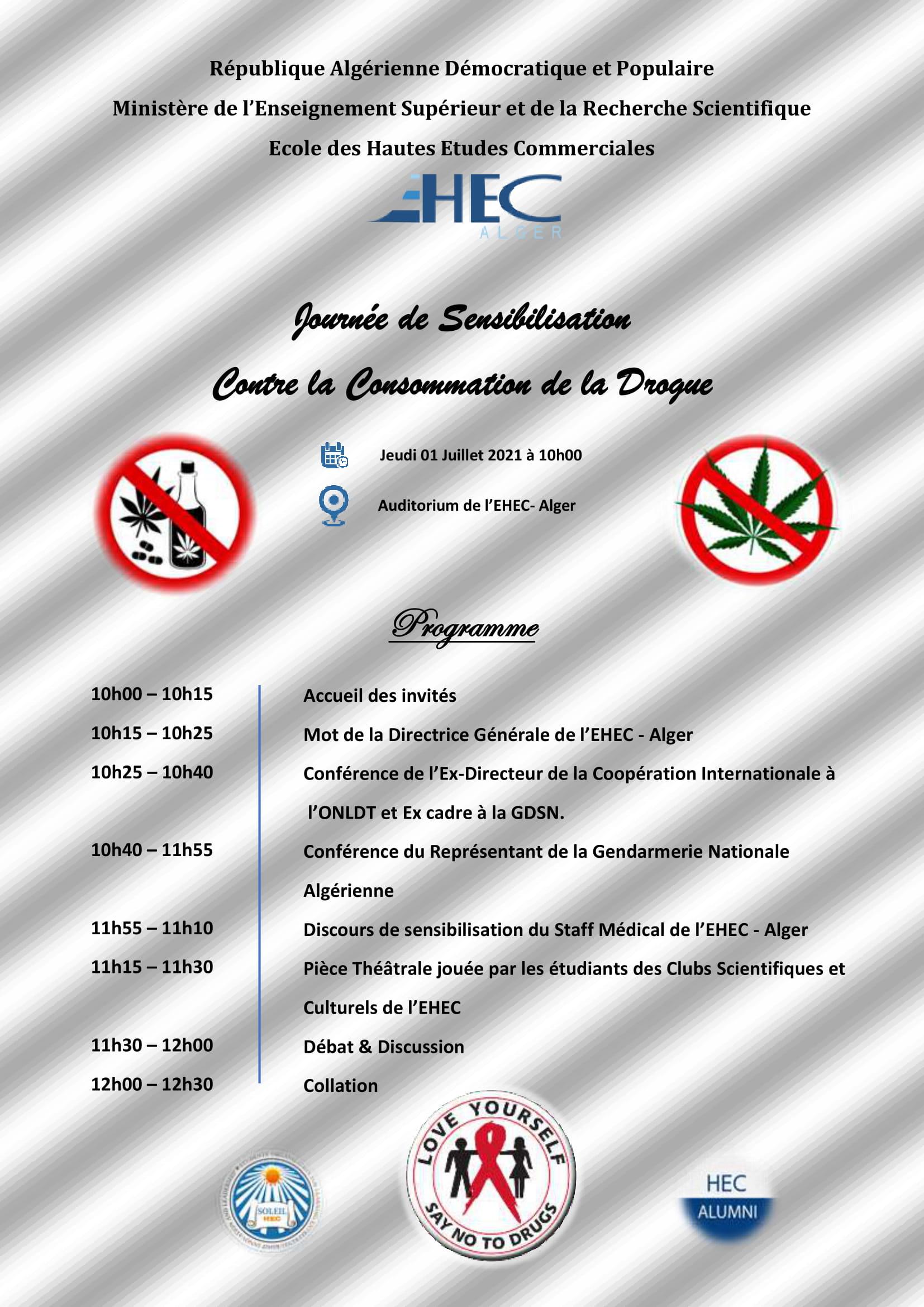 Programme de la journée de sensibilisation contre la consommation de la drogue