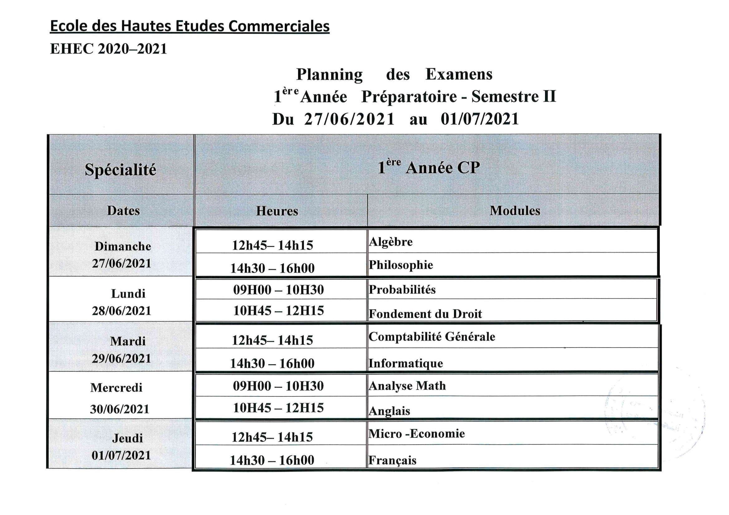 planning des examens 1CP et 2CP. S2